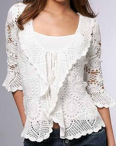 Lacy White Cardigan free crochet pattern - symbols only