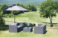 The Somerset Collection with grey cushions & grey market umbrella are perfect for any outdoor event