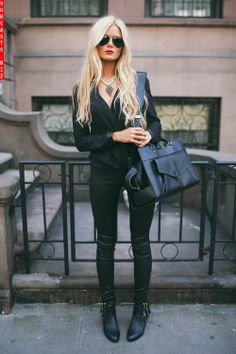 Sexy black outfit. Very well put together.