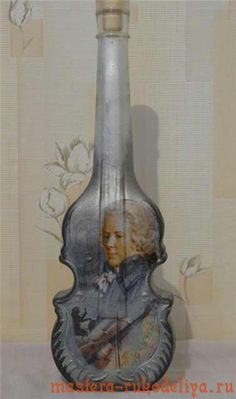 декупаж бутылки Моцарт (bottle art)