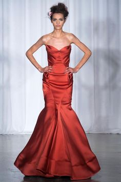 Zac Posen - Spring 2014 RTW - Red satin fit-and-flare evening gown