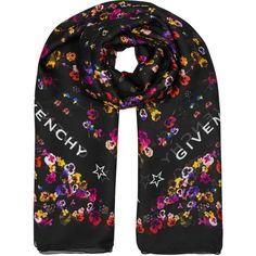 Givenchy Wild Pansy Printed Silk Chiffon Scarf ($490) ❤ liked on Polyvore featuring accessories, scarves, silk chiffon shawl, silk chiffon scarves, givenchy scarves, givenchy and star scarves