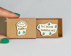 "Sorry Card / Forgive me Card / Apology Card Matchbox / Message box/ ""Sorry I'm dumb"" - Sad Face Cloud Rain"