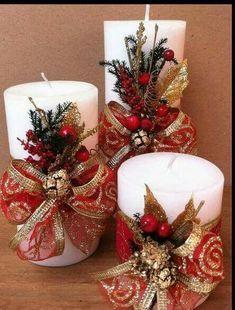 30 Cool Christmas Candle Decoration Ideas You'll Love Christmas season has alw. Christmas Candle Lights, Christmas Candle Decorations, Christmas Door, Christmas Wreaths, Christmas Ornaments, Christmas Time, Elegant Christmas, Handmade Christmas, Vintage Christmas