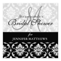 Bridal Shower Invitation Black Damask Monogram