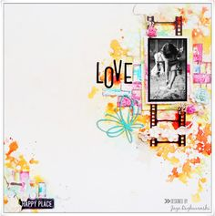 My Craft World: LOVE- Mixed media layout for Scrap Around The World October moodboard