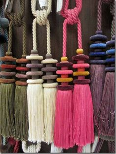 Inspiration modern tassels at Clarence House Diy Tassel, Tassels, Yarn Crafts, Diy And Crafts, Handicraft, Weaving, Crafty, Crochet, Fairy Makeup