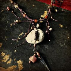 Tribal knotted necklace  heart of stone and wood by quisnam, $55.00