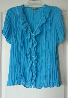 NY Collection size XL Blue Short Sleeve Blouse Shirt Top in Clothing, Shoes & Accessories | eBay
