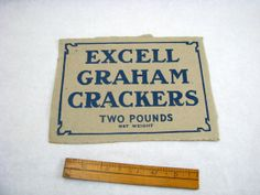 Vintage Excell Graham Crackers Cardboard Advertising