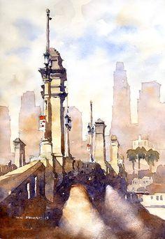 Iain Stewart - 1st Avenue Bridge- LA 11 x 9