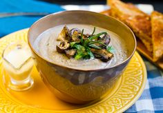 No-Cream of Mushroom Soup. just mushrooms, cauliflower, broth of choice and spices - could add almond milk if desired!