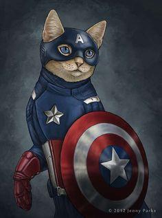 Captain America   Superhero Feline Makeovers - Jenny Parks's Feline Vigilantes Fight Crime While Looking Adorable (GALLERY)