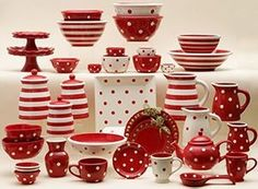 57 Beautiful Christmas Dinnerware Sets: Dishes table setting, serving pieces in polka dots & stripe combo - comes in ALL colors too! Christmas Dinnerware Sets, Christmas Dishes, Christmas Photos, Red Christmas, Holiday, Red And White Kitchen, Red Kitchen, Kitchen Decor, Kitchen Designs