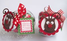 christmas gift jars | Here's a closer version showing Rudolf & his sparkly red nose better.
