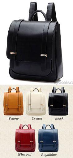 790b64f751dc Double Buckle Leather Shoulder Bag Backpack  backpack  school