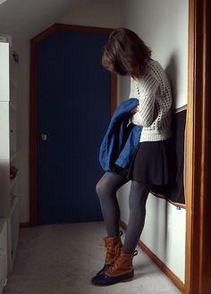 LL Bean boots, short skirt, sweater Fall Winter Outfits, Autumn Winter Fashion, Winter Clothes, Winter Boots, Bean Boots Outfit, Timberland Snow Boots, Ll Bean Duck Boots, Skirts With Boots, Skirt Boots
