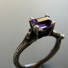 Twig solitaire engagement ring, sterling silver and amethyst solitaire