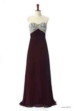 disney wedding READY TO SHIP: Top Beaded Long Chiffon Gown (Burgundy Color) $49.98