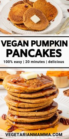 Vegan Pumpkin Pancakes are the fall breakfast recipe you've been missing! Pumpkin puree pancakes are ready in just 20 minutes with all the fall flavors like cinnamon, nutmeg, ginger, and cloves. #pumpkinpancakes Healthy Vegan Breakfast, Savory Breakfast, Sweet Breakfast, Vegan Pumpkin Pancakes, Pumpkin Puree, Delicious Vegan Recipes, Vegan Meals, Vegetarian Recipes, Fall Breakfast