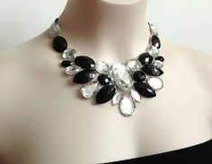 bib necklace  black and crystal clear by