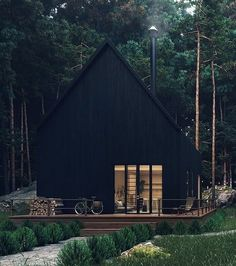 Forest House 🌿🖤 Renders by Black House Exterior, Shed Homes, Forest House, Cabins In The Woods, House Colors, Home Fashion, Future House, Style At Home, Modern Farmhouse
