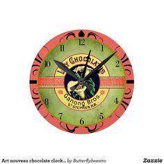 Art nouveau chocolate clock advertisement medium c