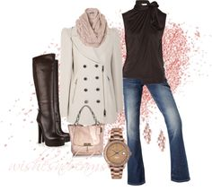 """""""Burberry coat with pink and brown"""" by wishesndreams on Polyvore"""