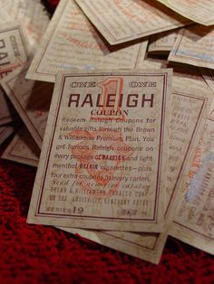 Vintage Raleigh Cigarette Coupons ... (My mother smoked and saved the coupons)