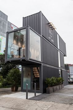 Hayes Valley Store Made From Shipping Containers: each container is 8' x 9.6' x…