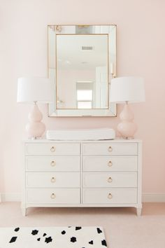 the Nursery with Palm Beach Lately - Project Nursery Feminine Pink and Gold Nursery - gorgeous changing table and styling!Feminine Pink and Gold Nursery - gorgeous changing table and styling! Baby Bedroom, Nursery Room, Nursery Mirror, Nursery Lamps, Nursery Dresser, Dresser As Nightstand, Kids Bedroom, Master Bedroom, Gold Kindergarten