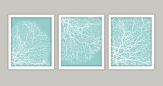 Seabreeze Blue Coral Art Print Set of 3 8x10 by CleverPrintables, $15.00