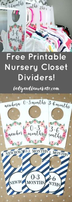Make these DIY nursery closet dividers from a free printable! Available for both boys and girls sizes Newborn to 24 months!