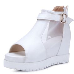 XRU Womens black platform with ankle strap open toe zipper easy spirit mesh high heel PU sandals White