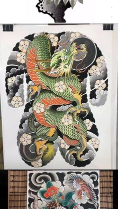 Traditional Japanese Tattoos, Japanese Tattoo Art, Japanese Art, Body Art Tattoos, Sleeve Tattoos, Chest And Back Tattoo, Dragon Tattoo Art, Japan Tattoo Design, Japanese Watercolor