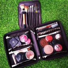 For those of you who asked how I travel with makeup, here you go!  It's a Laura Mercier traveling binder. Picked it up a couple years ago at Nordstrom. I think they bring one out every year in a different design. The brush holder zips right in the middle and all the compartment cases are magnetic and can come out so easily :) #bestmakeupcaseever #Padgram