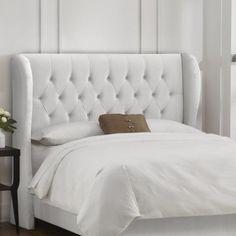 Tufted Wingback Velvet Upholstered Headboard Velvet White, Size: California King - 414CKVWHT