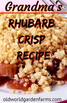 Grandma's Rhubarb Crisp Recipe - With the best crumb topping in this world! #rhubarb #rhubarbcrisp #dessert #rhubarbcrumble #oldworldgardenfarms