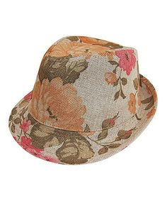 Love this Orange & Pink Floral Linen Fedora by Boardwalk Style on #zulily! #zulilyfinds
