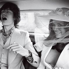 Mick Jagger and Bianca Pérez-Mora Macias wed at the Town Hall in St.-Tropez before 100 cameramen and journalists, and then held a service at St. Anne's church on May 12, 1971. Bianca wore a white wedding suit and hat designed by Yves Saint Laurent. The reception was at Café des Arts. After the party, the couple left on the yacht Romeang for a ten-day honeymoon cruise around Corsica and Sardinia.    Photo: Lichfield/Getty Images