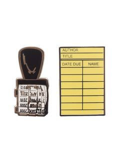 """Without libraries what have we? We have no past and no future."" -Ray Bradbury Accessorize your love of literature with our Library-inspired enamel pin set! - Set of 2 pins - Brass with white nickel f"