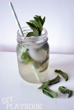Mint Mojito Recipe-fresh mint leaves -1/2 lime (cut into small wedges) -1 cup ice -1.5 ounces white rum -1/2 cup club soda -2 T. simple syrup
