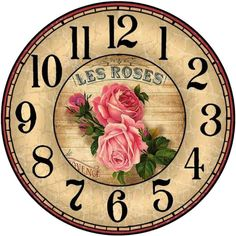 Decoupage Vintage, Decoupage Paper, Clock Face Printable, Clock Flower, Unusual Clocks, Handmade Clocks, Wall Watch, Diy Clock, Clock Craft