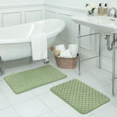 Bath Studio Massage 2 Piece Premium Micro Plush Memory Foam Bath Mat Set Color: Sage