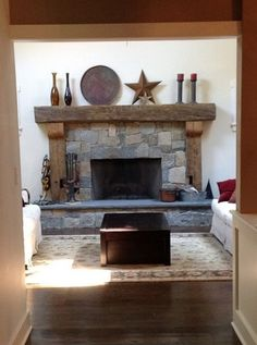 Barn wood mantle and supports