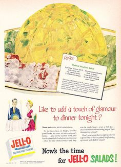 Like To Add A a Touch Of Glamour To Dinner Tonight?  Give Your Hubby This Molded Maytime Salad!  (1952)