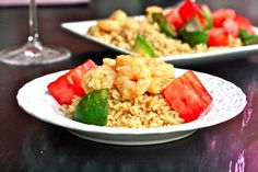 Thai Grilled Shrimp Skewers with Watermelon & Avocado - a Clean Eating recipe with a couple of tweaks! Fish Recipes, Seafood Recipes, Grilled Shrimp Skewers, Clean Eating Recipes, Eating Clean, Seafood Dishes, Tasty Dishes, Meal Planning, Watermelon