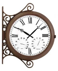 e7a184b4e955 Double Sided Station Garden Clock with Thermometer - 38cm (15