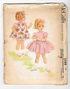 Vintage 1960s McCalls 5388 Girls Dress With Attached Petticaot and Popover…