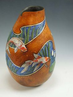 "Gourd Art by Bonnie Gibson ""5 Jewels"""